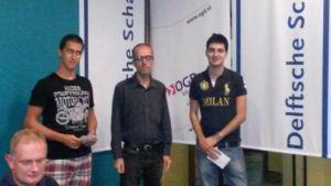 Winnaars A-groep: Demre Kerigan, Erik van den Doel en Benjamin Bok